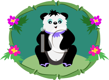 Royalty Free Clipart Image of a Panda in a Bamboo Frame