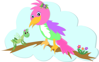 Royalty Free Clipart Image of a Parrot and a Grasshopper