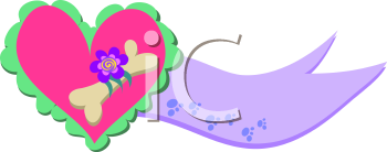 Royalty Free Clipart Image of a Pet Heart Banner