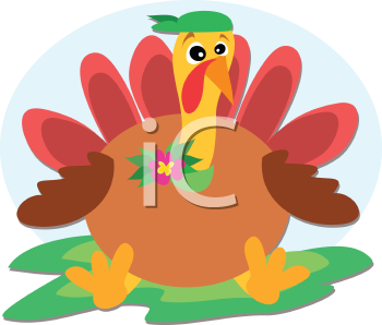 Royalty Free Clipart Image of a Quirky Turkey