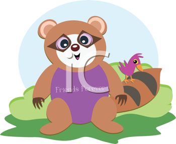 Royalty Free Clipart Image of a Raccoon and Bird Friends