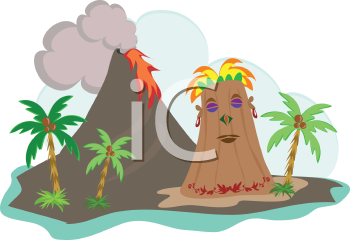 Royalty Free Clipart Image of an Island Volcano and a Tiki