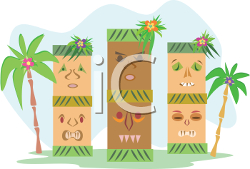 Royalty Free Clipart Image of a Tiki Island