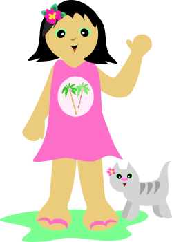 Royalty Free Clipart Image of a Tropical Girl With a Cat
