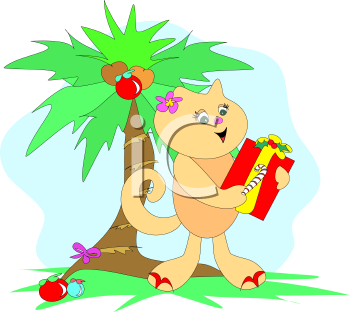 Royalty Free Clipart of a Tropical Cat Celebrating Christmas