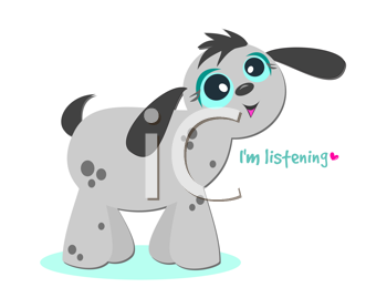 Royalty Free Clipart Image of a Dog With the Words I'm Listening