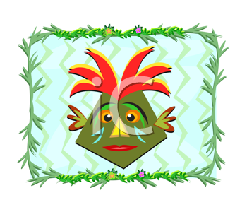 Royalty Free Clipart Image of a Tiki Head in a Plant Frame