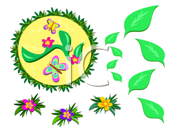Royalty Free Clipart Image of a Flowers, Leaves and Butterflies in a Circle