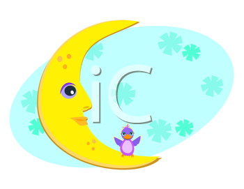 Royalty Free Clipart Image of a Moon and Bird