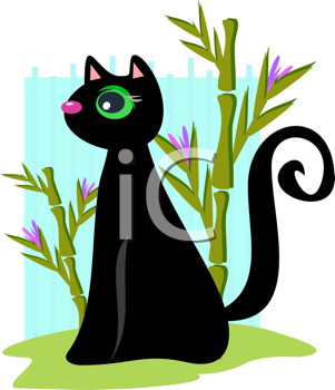Royalty Free Clipart Image of a Cat and Bamboo Shoots