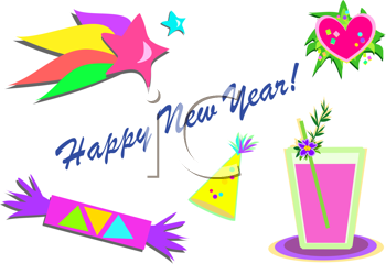 Royalty Free Clipart Image of a Happy New Year Message