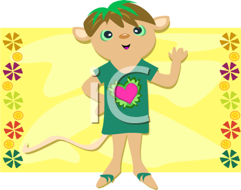 Royalty Free Clipart Image of a Mouse Boy