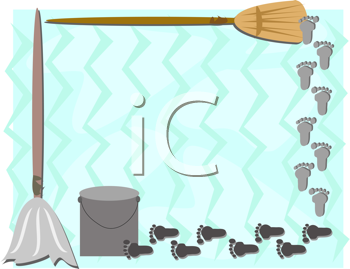 Royalty Free Clipart Image of a Footprint Broom and Mop Frame