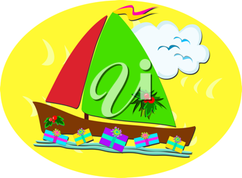 Royalty Free Clipart Image of a Boat With Gifts