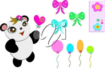 Royalty Free Clipart Image of a Panda With Balloons and Bows