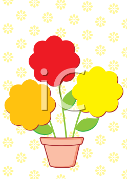 Royalty Free Clipart Image of Flowers in a Pot