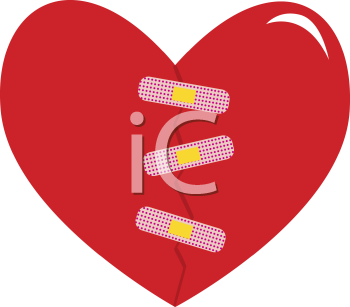 Royalty Free Clipart Image of a Bandaged Heart