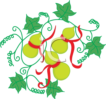 Royalty Free Clipart Image of Oriental Fruit and Ivy