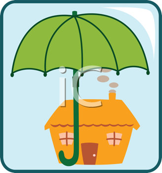Royalty Free Clipart Image of an Umbrella Covering a House