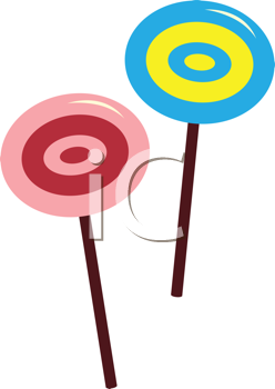 Royalty Free Clipart Image of Two Candy Suckers