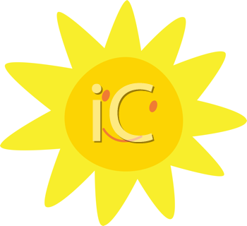 Royalty Free Clipart Image of a Cartoon Sunshine