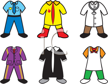 Royalty Free Clipart Image of a Collection of Career Costumes