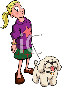 Royalty Free Clipart Image of a Dog Walker