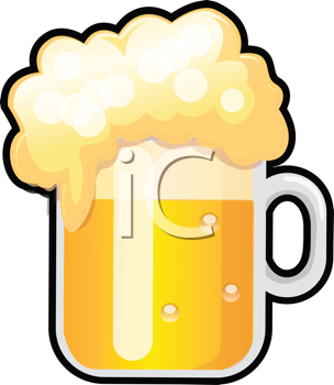 Royalty Free Clipart Image of a Frothy Beer Mug