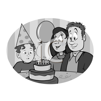 Royalty Free Clipart Image of a Boy With His Parents and a Birthday Cake