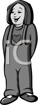 Royalty Free Clipart Image of a Girl Wearing Overalls