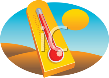 Royalty Free Clipart Image of a Thermometer in a Desert