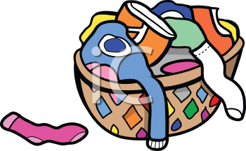 Royalty Free Clipart Image of a Laundry Hamper Filled with Laundry