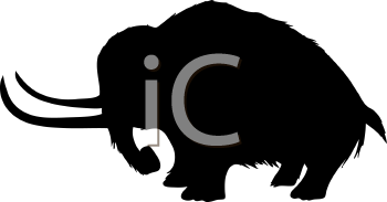 Royalty Free Clipart Image of a Mammoth Silhouette