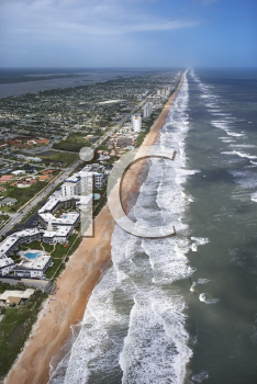 Royalty Free Photo of an Aerial view of Ormond Beach, Florida With Oceanfront Buildings
