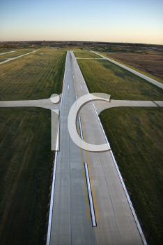 Royalty Free Photo of an Aerial View of a Runway in Chicago, Illinois
