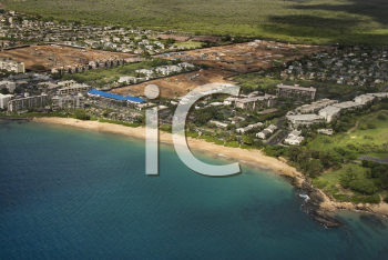 Royalty Free Photo of an Aerial View of Waterfront Buildings on a Coastline of Maui, Hawaii