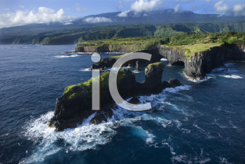 Royalty Free Photo of an Aerial of a Rocky Coast on Pacific Ocean in Maui, Hawaii