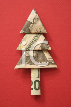 Royalty Free Photo of an Origami Tree Made From a Twenty Dollar Bill