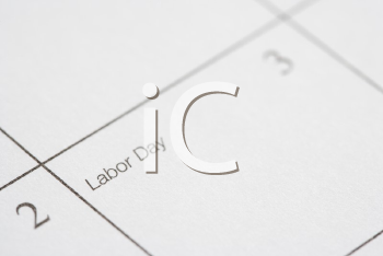 Royalty Free Photo of a Calendar Displaying Labor Day