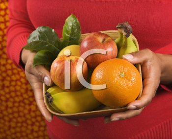Royalty Free Photo of a Close-up of Hands Holding a Fruit Basket