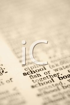 Selective focus of dictionary definition for the word school.