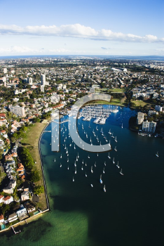 Royalty Free Photo of an Aerial View of Buildings and Boats in Rushcutters Bay, Australia