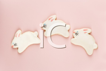 Three bunny shaped sugar cookies with decorative icing.
