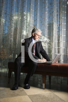 Businessman in suit sitting on a bench working on a laptop. Vertical shot.
