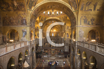 Low angle view of interior of cathedral at St Mark's Basilica. Horizontal shot.