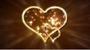 Royalty Free HD Video Clip of Shimmering Gold Lights with Gold Hearts