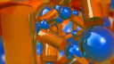 Royalty Free Video of Rotating Blue Balls and Orange Cylinders