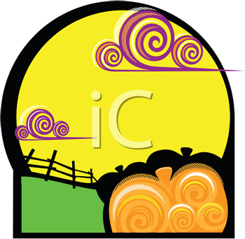 Royalty Free Clipart Image of a Agricultural Scene With a Fence and a Pumpkin