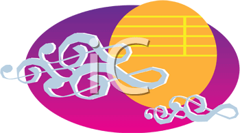 Royalty Free Clipart Image of a Symphony Sunset Design