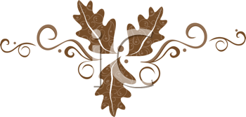 Royalty Free Clipart Image of A Trio Of Brown Leaves